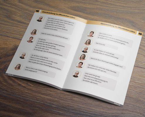 Die geöffnete Broschüre Gleichstellung von Menschen mit Behinderung - man sieht die Seiten 54 und 55